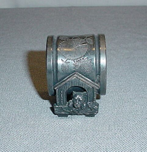 Vintage MERIDEN Silver Plate Figural Napkin Ring Dog in the Dog House