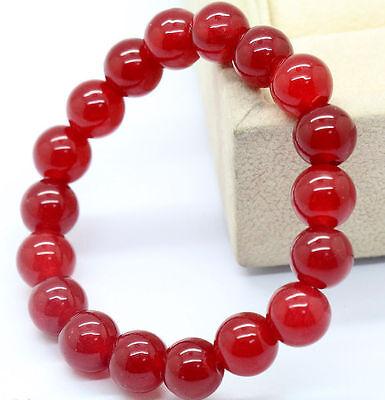 Natural 10mm China Red Ruby Jade Gemstone Round Beads Bracelet
