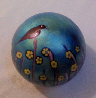 Orient   Flume Paper Weight  Bird   Flowers  J 240 O 1977  2 75  Tall  3  Across
