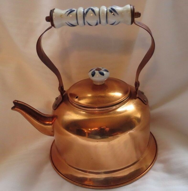 Cooper Brass Tea Pot w/ ceramic white blue handle and knob movable handle