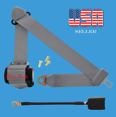 1 Kit of 3 Point Universal Strap Retractable & Adjustable Safety Seat Belt Gray for sale  Shipping to South Africa