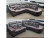 brown Chunky leather corner sofa brown can deliver