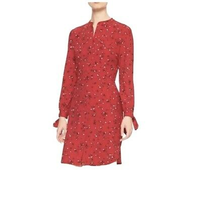Banana Republic Red Floral Button Down Shirt Dress Size 12
