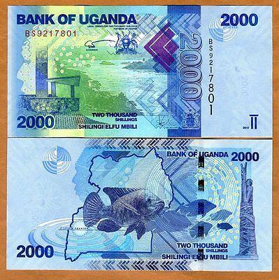 Uganda, 2000 (2,000) Shillings, 2017, P-50 (50d), New Signature, UNC > Fish