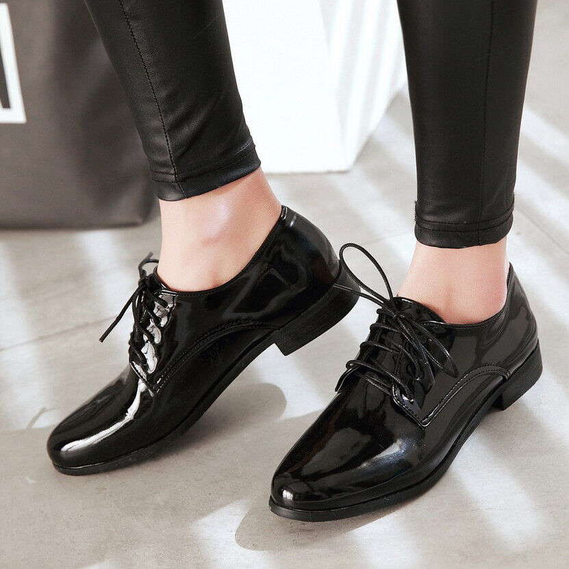 Womens Pointed Toe Patent Leather Brogue Lace Up Oxfords Shoes plus size