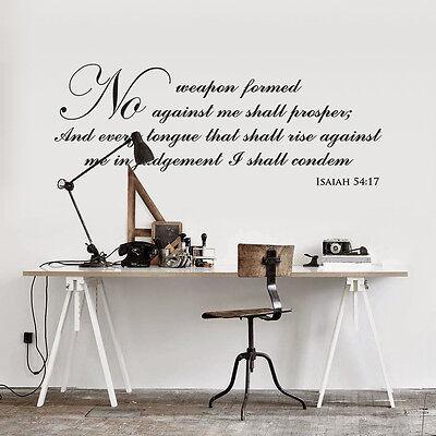 (Vinyl Wall Art Bible Quote Isaiah54-17  Modern Home Bedroom Sticker Decoration)