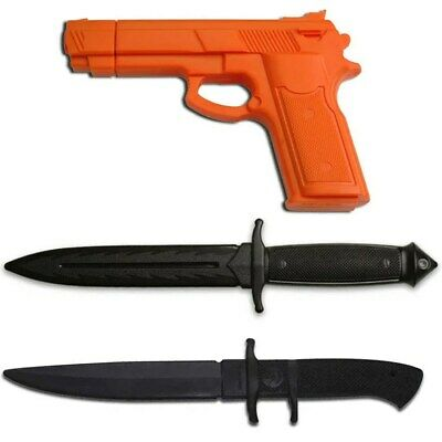 3 PC RUBBER TRAINING PRACTICE KNIVES & DUMMY GUN Martial Arts Combat Toy Costume