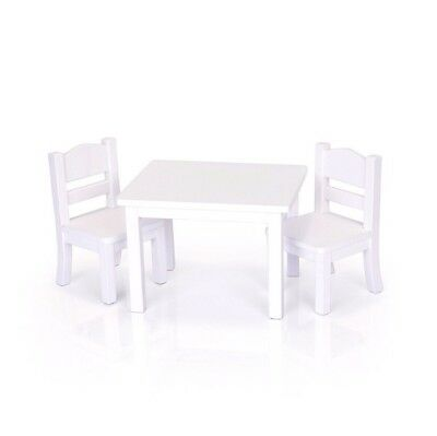 """Doll Table and Chair Set American Girl Dolls 18 """" Furniture White Wooden Toy New"""