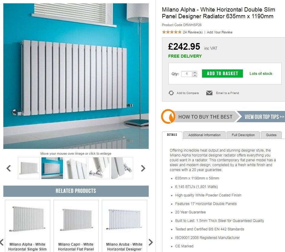 new product 65c26 1dce5 designer radiator, milano alpha 1180 x 635mm double, white. | in Risca,  Newport | Gumtree