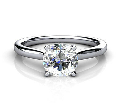 1 Carat CZ Promise Solitaire Ring 18ct White Gold Fully Hallmarked