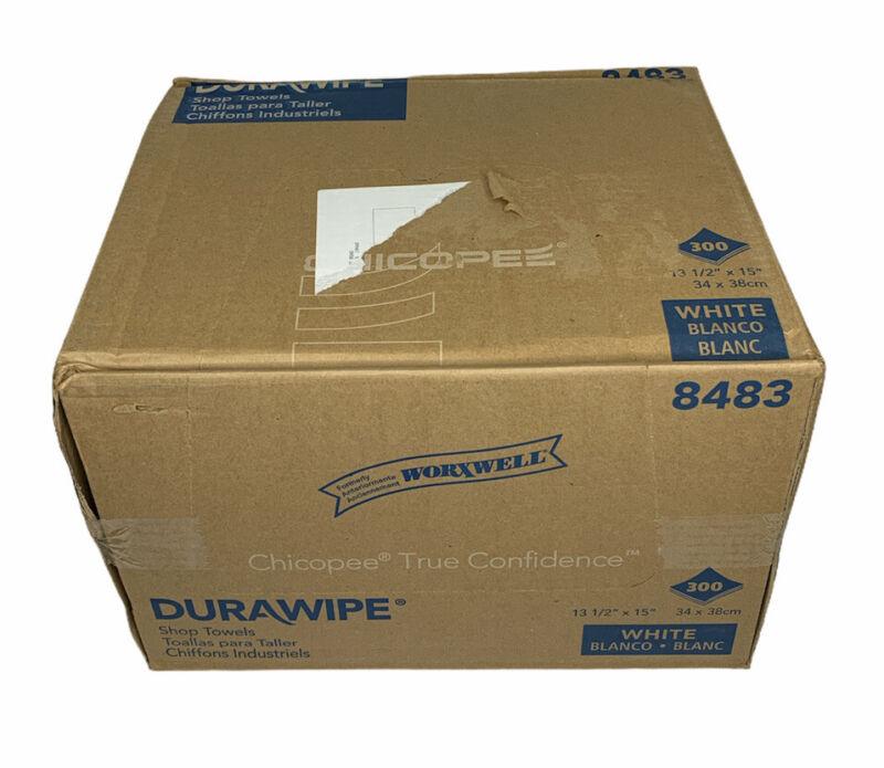 "Chicopee Durawipe Shop Towels, 13 1/2"" x 15"", Flat, White, 300/Carton, 8483"