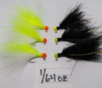 Orange Head White Chenille Org Marabou jigs 2x forged Salmon Steelhead 6pk 1//4oz