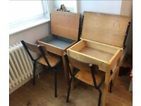 Pair of vintage old school desk and chair