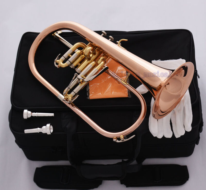Professional Rose Brass Bb Flugelhorn Monel Valve New Flugel Horn 2Pc Mouthpiece