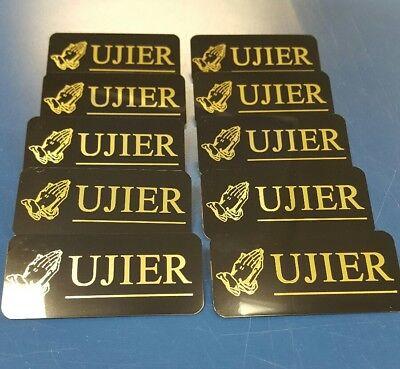 Set Of 10 Black With Gold Letters Engraved Usher Badges Pin Back Spanish Ujier