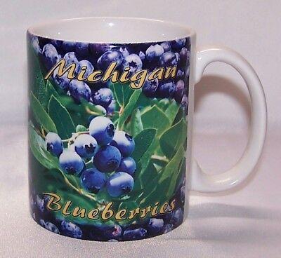Michigan Blueberries Coffee Cup Mug W  Blueberry Pie Recipe New Shipped Free