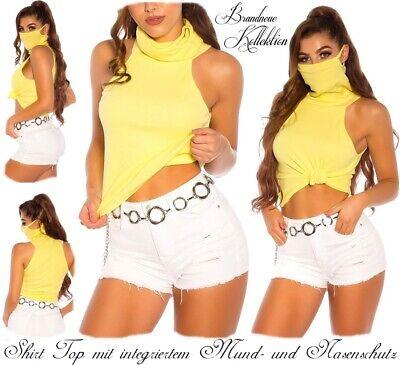 NEUHEIT 34 36 38 XS-S-M Cotton Shirt mit Mund- und Nasenschutz Maske Gelb Italy