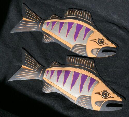 Coast Salish Cedar Salmon Carvings by Noel Brown Pacific Northwest Native Art