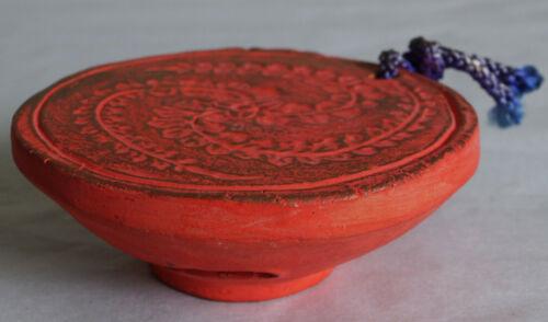 """Japanese Old Clay Bell Dorei : design Red Sake Cup Sakazuki of """"Kurodabushi"""""""
