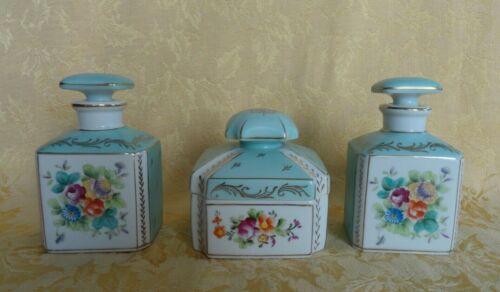 Vintage Shafford Parisienne French Blue Floral Porcelain Perfume Bottles & Box