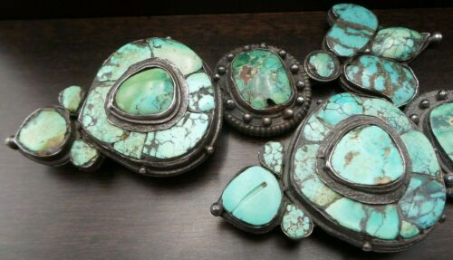 Beautiful Massive Antique Tibetan/Himalayan Sterling Silver & Turquoise Earrings