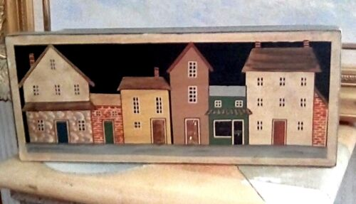 WOOD BOX WITH DIFFERENT COLORED HOUSES ON IT GREAT CONDITION