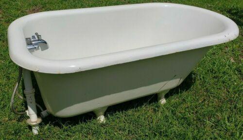 "Antique American Cast Iron 54"" Bathtub w Claw Feet Ready to Go! Faucet Nozzle"