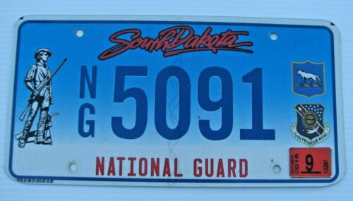 "SOUTH DAKOTA GRAPHIC NATIONAL GUARD  LICENSE PLATE "" NG 5091 "" ARMY AIR FORCE SD"