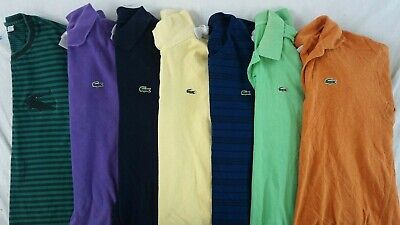 LACOSTE Lot of 7 Men's Short Sleeve Cotton Polo Shirts Sz 7 / US XXL