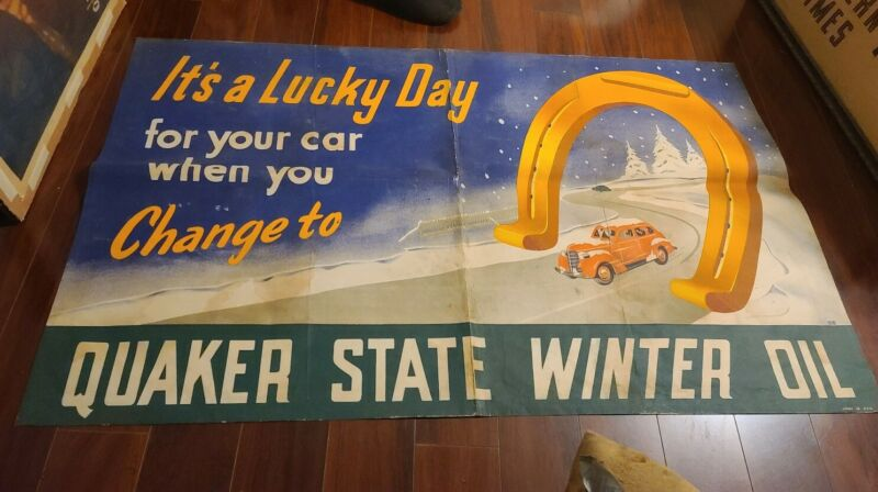 QUAKER STATE OIL BANNER c1940S ART BY BERG SHOWING 2 AUTOMOBILES GREAT LOOKING
