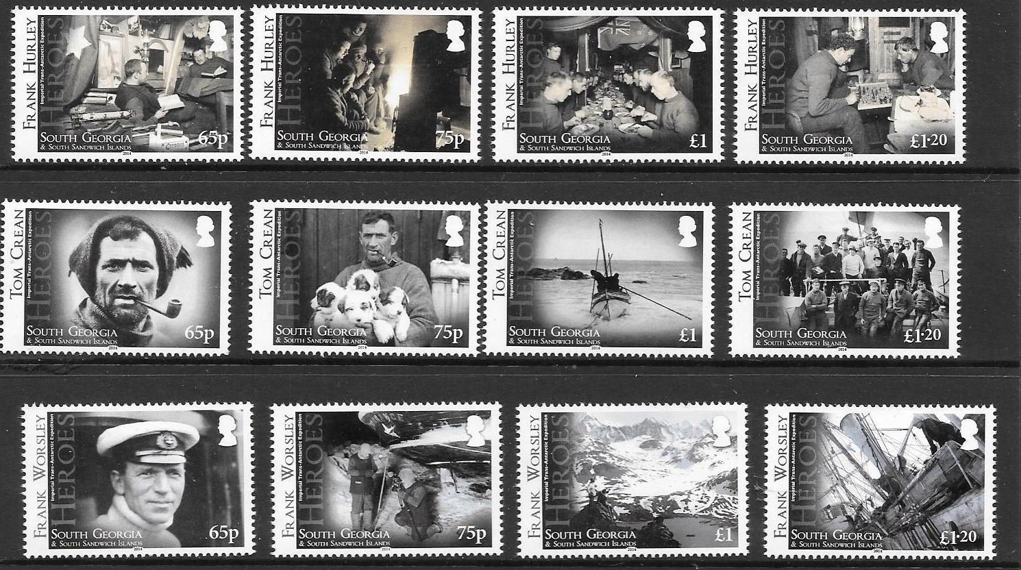 S.GEORGIA&S.SANDWICH SG619/30 2014 HEROES OF IMPERIAL TRANS-ANTARCTIC EXPED MNH