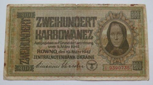 UKRAINE THIRD REICH 200 KARBOVANETS ROWNO 1942 GERMAN OCCUPATION WW2 RRR