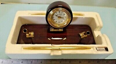 Reflections Elegant Rosewood Desk Pen Clock Set Unused