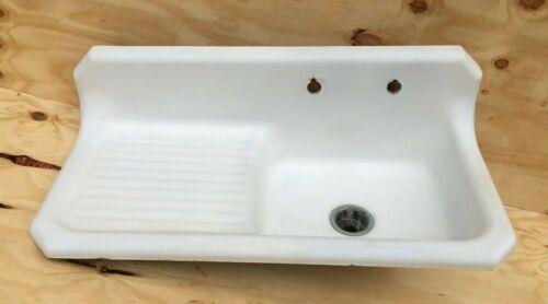 """Antique 42"""" Art Deco  Cast Iron White Porcelain VTG Kitchen Farm Sink 1028-20B"""