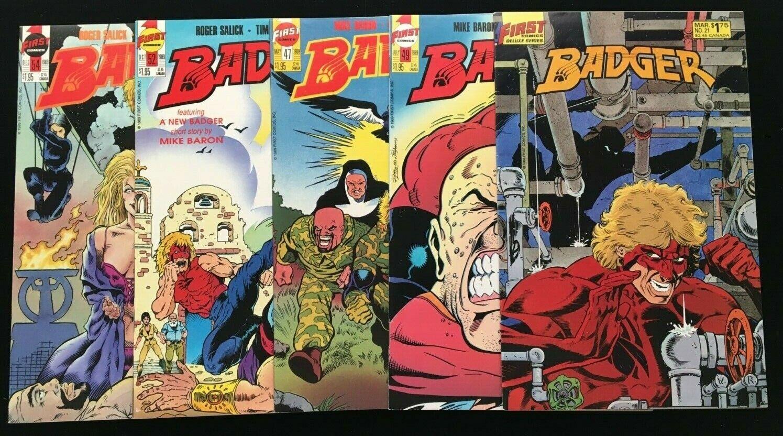 BADGER, FIRST COMICS, ISSUES 21, 47, 49, 52, 54, HIGH GRADE, RON LIM/TIM VIGIL - $6.50