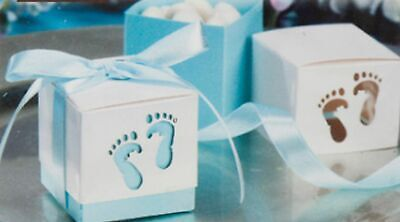 12 Blue Footprint Feet Candy Boxes Baby Shower Party Favors Decorations MW55003 - Feet Baby Shower