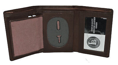 (BADGE ID HOLDER ROUNDED OVAL SHAPE DARK BROWN TRIFOLD WALLET NEW LEATHER WALLET)