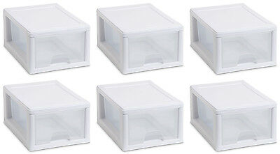 (6) Sterilite 20518006 Small Box Modular Stacking Storage Drawer Container Closet)