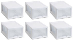 6) Sterilite 20518006 Small Box Modular Stacking Storage Drawer Container Closet