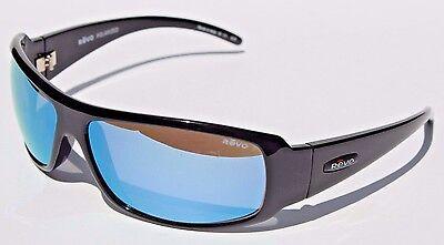 REVO Gunner Sunglasses POLARIZED Shiny Black/Water Blue NEW RE5010X-00 Sport