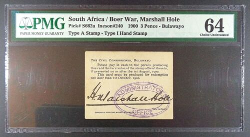 1900 South Africa - Boer War Marshall Hole 3 Pence Emergency Banknote, P-S662a.