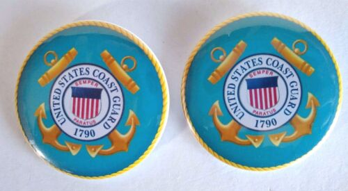 """United States Coast Guard Seal Buttons Lot Of (2) Round Pins Light Blue 2"""""""