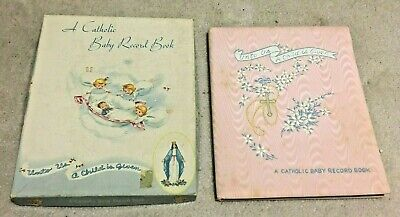 Vintage A Catholic Baby Record Book , 1952,  Pink Satin with Box, Never Used