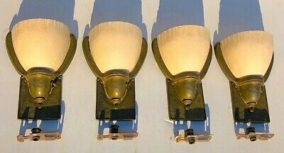 (4) MATCHING EARLY 1900's SOLID BRONZE SLIP SHADES WALL SCONCES LIGHTS ART-DECO
