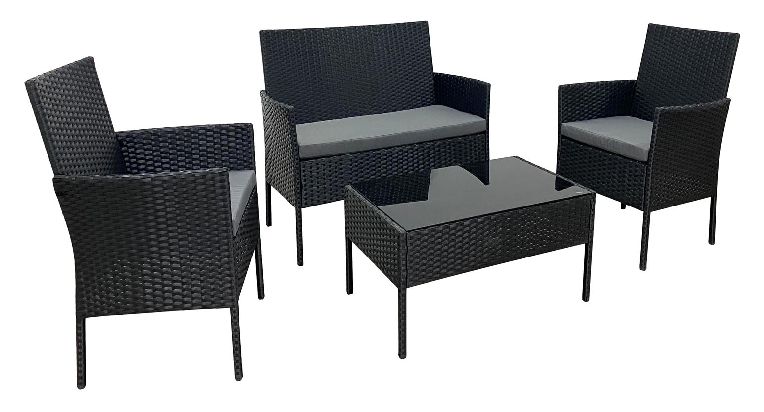 Garden Furniture - RATTAN GARDEN FURNITURE SET 4 PIECE CHAIRS SOFA TABLE OUTDOOR PATIO SET BLACK