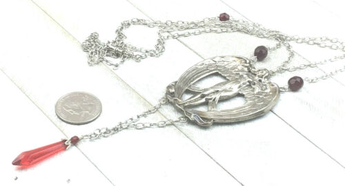 Vintage Inspired Necklace Silver Stamping Art Nouveau Angel Ruby Glass Draping 1