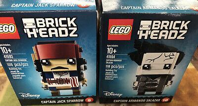 LEGO Disney BrickHeadz Captain Jack Sparrow 41593 & Armando Salazar 41594 NEW