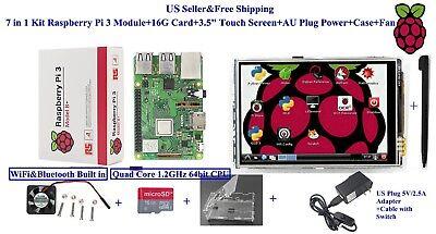 "7 in 1 Kit Raspberry Pi 3B+ Module&16G Card&3.5"" Touch Screen&US Power&Case"