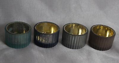 Teelichthalter Teelichtglas Dekoration Hochzeit Kommunion Taufe 4St. mint grau