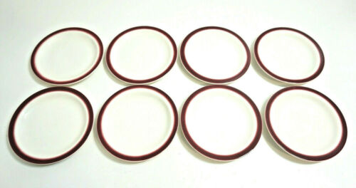 "8 BUFFALO CHINA MAROON AIRBRUSHED TRIM 6 1/4"" DESSERT PLATES RESTAURANT WARE"